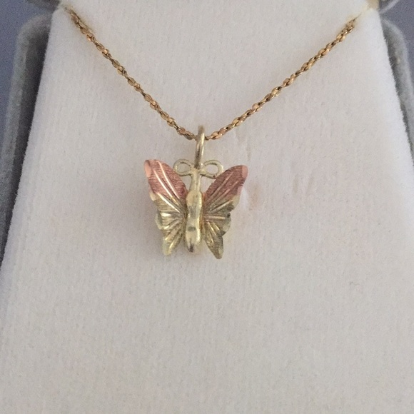 Black Hills Gold Butterfly Pendant in 925 Sterling Silver